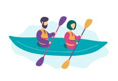 Gulliga moderna unga par som kayaking royaltyfri illustrationer