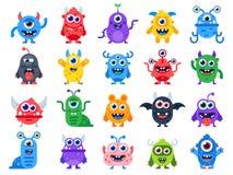 gulliga monster för tecknad film Komiska halloween glade gigantiska tecken Rolig jäkel, den fula främlingen och leendevarelsen sä vektor illustrationer