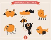gulliga monster, uppsättning av vektorillustrationer Arkivbilder