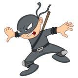 Gulliga Ninja Cartoon vektor illustrationer