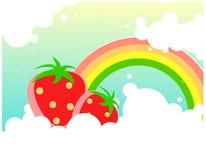 gulliga nya fruktjordgubbar royaltyfri illustrationer