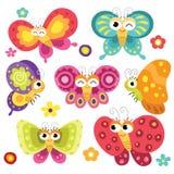 Gulliga och färgrika fjärilar Arkivbild