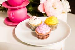 Gulliga och färgrika smaskiga muffin Royaltyfria Bilder