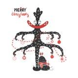 Gulliga och roliga julmonster royaltyfri illustrationer