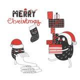 Gulliga och roliga julmonster stock illustrationer