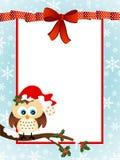 Gulliga Owl Christmas Greeting Card Royaltyfri Fotografi
