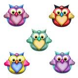 Gulliga Owl Toppers Arkivfoton