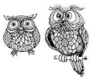 Gulliga owls vektor illustrationer