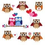 Gulliga owls för valentindag Arkivbild