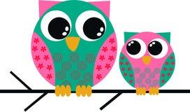 gulliga owls två Fotografering för Bildbyråer