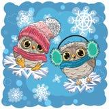 gulliga owls två stock illustrationer
