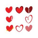 Gulliga packar för begrepp för logo för förälskelse-/hjärtasymbolstecken stock illustrationer