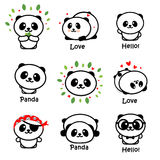 Gulliga Panda Asian Bear Vector Illustrations, samling av kinesiska djur enkla Logo Elements, svartvita symboler vektor illustrationer