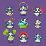 Gulliga Panda Emotions And Activities Collection med humaniserad tecknad filmPanda Character Doing Different daglig saker Arkivbild