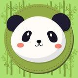 Gulliga Panda Head Cartoon på bambuvektorbakgrund Royaltyfri Fotografi