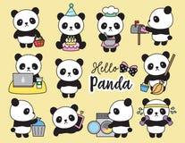 Gulliga Panda Planner Activities vektor illustrationer