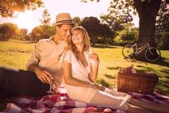 Gulliga par som dricker vitt vin på en picknick som ler på de stock illustrationer