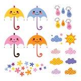 Gulliga paraplyregndroppar blommar uppsättningen för molndesignbeståndsdelar Arkivfoton