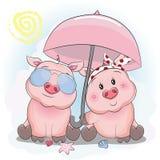 Gulliga piggy par med paraply- och solexponeringsglas i stranden vektor illustrationer