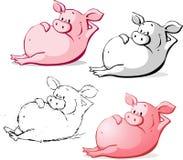 Gulliga Ping Pig Cartoon Vector Illustration royaltyfri illustrationer