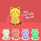 Gulliga plana Cat Cartoon Character Sticker Vector EPS Arkivbilder