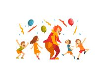 Gulliga pojkar och flickan som firar ungar, festar, lyckliga barn som har gyckel med clownen på födelsedagen, karnevalpartiet ell royaltyfri illustrationer
