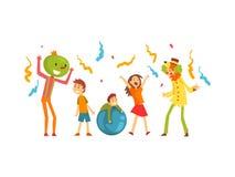 Gulliga pojkar och flickan som firar ungar, festar, lyckliga barn som har gyckel på födelsedagen, karnevalpartiet eller cirkuskap royaltyfri illustrationer
