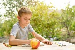 Gulliga pojkeattraktioner med blyertspennastilleben ?ppen luft Tr?dg?rd i bakgrunden id?rikt begrepp arkivfoto