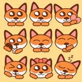 Gulliga rävar i Japan stil Royaltyfri Illustrationer