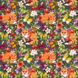 Gulliga rävdjur, sommarängblommor och fjärilar Ditsy som upprepar den blom- modellen vattenfärg stock illustrationer