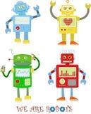 4 gulliga robotar Royaltyfri Bild