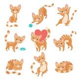 Gulliga roliga röda Cat Character i olikt poserar, och lägen ställer in vektorillustrationen vektor illustrationer