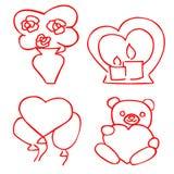 Gulliga romantiska klistermärkear ställde in för valentins att datera för dag stock illustrationer