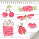 gulliga rosa etiketter Arkivfoto