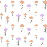 Gulliga rosa färg- och lilablommor på sömlös modellillustration för vit bakgrund Royaltyfria Bilder