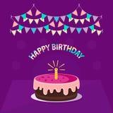 Gulliga rosa färger bakar ihop med en ` isolerad för lycklig födelsedag för stearinljus-, girland- och text` på violett bakgrund  royaltyfri illustrationer