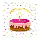 Gulliga rosa färger bakar ihop med en ` isolerad för lycklig födelsedag för stearinljus-, konfetti- och text` på vit bakgrund Sym stock illustrationer