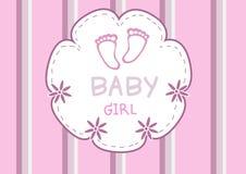 Gulliga rosa färger behandla som ett barn foten, baby showerkort Royaltyfri Bild