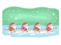 Gulliga Santas med girlanden och snö på bakgrund royaltyfri illustrationer