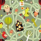 Den seamless vägen mönstrar med hus och fåglar Royaltyfria Bilder