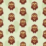 Gulliga seamless mönstrar med owlen Royaltyfria Foton