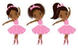 Gulliga små afrikansk amerikanballerina för vektor stock illustrationer