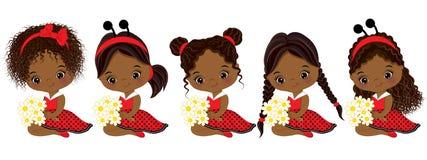 Gulliga små afrikansk amerikanflickor för vektor med olika frisyrer