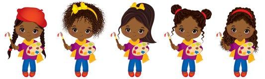 Gulliga små afrikansk amerikankonstnärer för vektor med paletter och flickor för afrikansk amerikan för vektor för målarfärgborst stock illustrationer