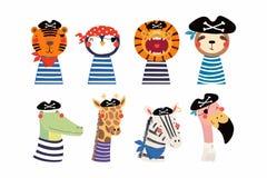 Gulliga små djur piratkopierar uppsättningen royaltyfri illustrationer