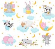 Gulliga små djur som sover under en stjärnklar himmeluppsättning, älskvärd elefant, kanin, panda, tvättbjörn, får, spädgris, flod royaltyfri illustrationer