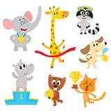 Gulliga små djura tecken, mästare, vinnare som rymmer medaljer, koppar Royaltyfri Bild