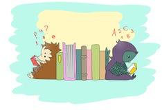 Gulliga små djurläseböcker stock illustrationer