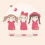 Gulliga små flickor. royaltyfri illustrationer