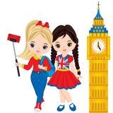 Gulliga små flickor för vektor som gör Selfie med sikten av Big Ben royaltyfri illustrationer